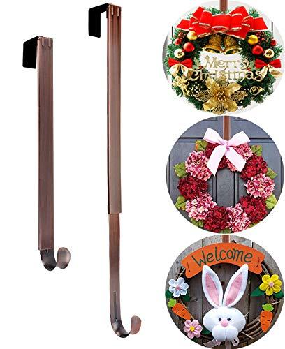 Wreath Door Hanger, Adjustable 15 to 25 Inch Halloween Fall Wreath Hanger for Front Door Decor,Heavy Duty with 20LB Wreath Hook Holder for Welcome Sign for Front Door,Easter Christmas Decorations
