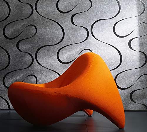Papel Pintado Pared Plateado Ondas - con Líneas, , Elemento Decorativo - Ideal para el Salón - Colani Visions - Fabricado en Alemania - 10,05 x 0,70m - 53340