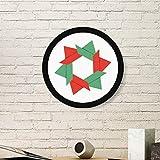 DIYthinker Resumen de Navidad Flor de Origami patrón de la Pintura del Arte de Fotos de imágenes de Madera Marco Redondo Regalo a casa decoración de la Pared Medio Negro