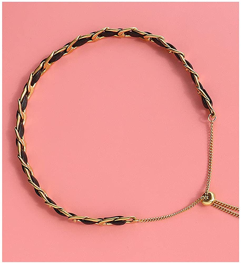 lureme Black Leather Choker Adjustable Gold Chain Necklace for Women Simple Boho Jewelry Gift (nl006269)