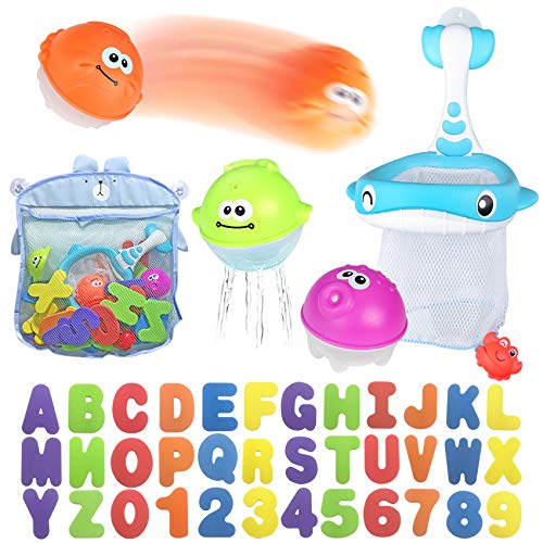 Bath Toy Sets, 36 Foam Bath Letters and Numbers, Floating Squirts Animal Toys Set with Fishing Net and Organizer Bag, Fish Catching  Game for Babies...