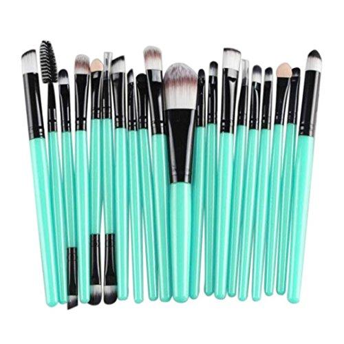 20 Pieces Makeup Brush Set, Staron Makeup Brushes Kit Cosmetics Foundation Wood Handle Premium Make Up Brushes Toiletry Kit Blending Blush Eyeshadow Eyeliner Face Powder Makeup Brush Set (Black)