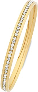 Bevilles Yellow Stainless Steel Channel Crystal Bangle SBG-740 IPG