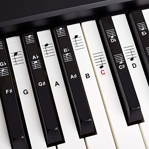 Piano + Keyboard Sheet Music Stickers for 49   61   76   88 Keys + Ebook   Piano Sticker Complete Set for Black + White Keys   C-D-E-F-G-A-B