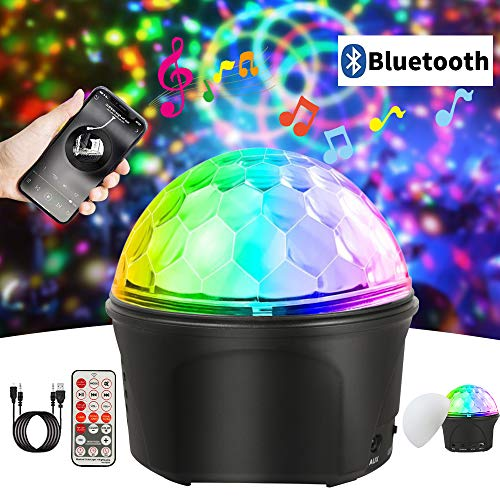 MZD8391 Sound Activated Disco Party Lights with Remote Control, RGB Disco Ball Light, LED Bluetooth Speaker Strobe Lamp, DJ Stage Lights, 9 Colors 7 Modes Night Light, USB Powered Strobe Lights