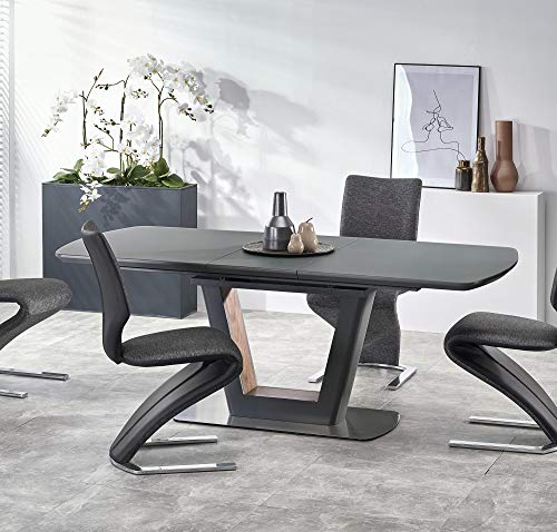 Bilotti ANTHRACITE 160-200cm Grey Glass & Dark Grey Matt Extendable Dining Table