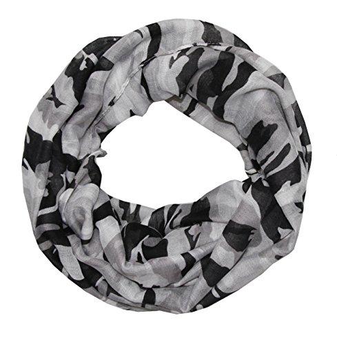 Sjaal met camouflagepatroon camouflagekleur dames legergroen