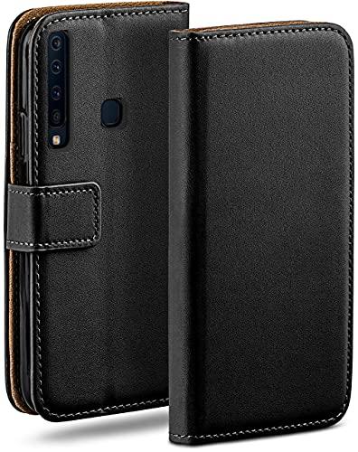 moex Klapphülle kompatibel mit Samsung Galaxy A9 (2018) Hülle klappbar, Handyhülle mit Kartenfach, 360 Grad Flip Hülle, Vegan Leder Handytasche, Schwarz
