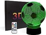 3D Calcio LED Luce notturna,illusione creativa 3D Illusion Calcio Effect USB di ricarica LED Night Lamp con 7 colori che cambiano per la casa/decorazioni per ufficio,Interruttore tattile,Buon regalo