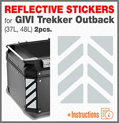 2pcs RIFRANGENTI ADESIVI Compatible con GIVI Baúl Trekker Outback Monokey, Aluminio Top...