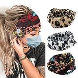 Zoestar Boho, diademas de leopardo entrecruzadas para yoga, protección de oídos, diademas elásticas para el pelo turbante para mujeres y niñas (paquete de 3)