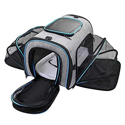 Siivton Pet Carrier Airline Approved, Expandable Soft-Sided Dog Carrier with Fleece Pad for Cats, Foldable Pet Travel Bag Safe and Easy