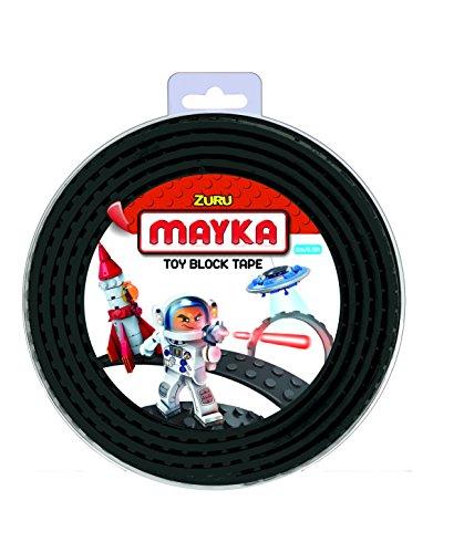 Mayka 34657 - Klebeband für Lego Bausteine, 2 m selbstklebendes Band mit 4 Noppen, schwarzes Bausteinband, flexibles Noppenband zum Bauen mit Legosteinen für Kinder ab 3 Jahre, wiederverwendbar