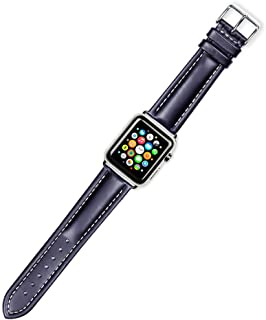 Debeer Replacement Watch Strap - Breitling Style Oil Tanned Leather - Black - Fits 42mm Apple Watch [Silver Adapters]
