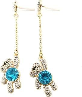 Full Crystal Bear Panda Love Heart Drop Dangle Earring Women Girls Adorkable Animal Jewelry