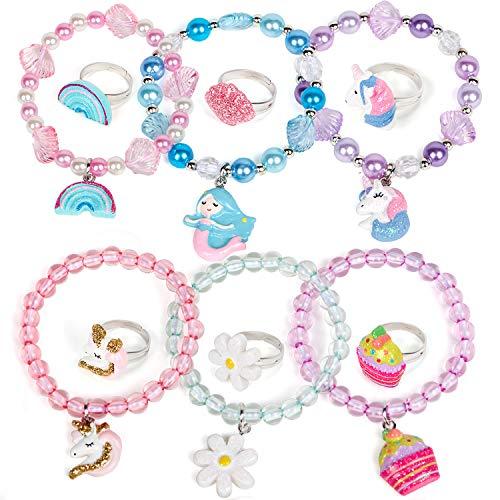vamei Beaded Bracelets for Girls, Kids Jewellery Set Mermaid Unicorn Bracelets Beaded Bracelets with Adjustable Rings Friendship Jewellery Birthday Gift for Girls