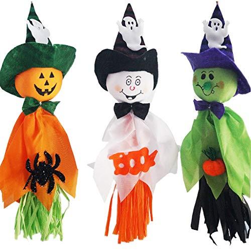 LALALY 3PCS Cute Halloween Decoration Hanging Ghost, Pumpkin Ghost Windsock Pendant Decor, Tree Window Classroom Door Mantle Garden Lawn Decoractions for Halloween Party (3PCS)