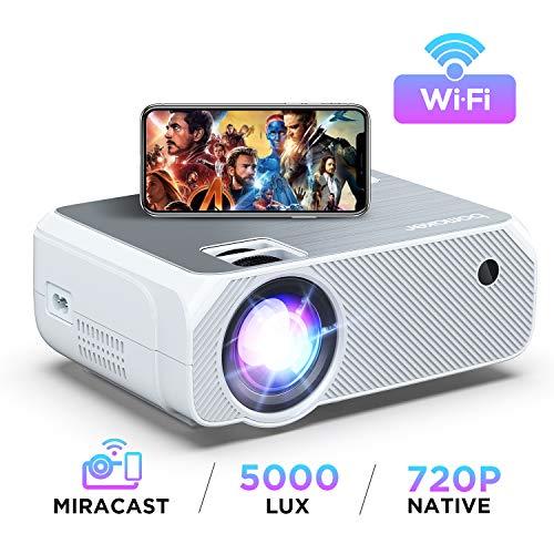 Proyector WiFi, 2020 Actualizado BOMAKER 5000 Lúmenes Resolución Nativa 720P Inalámbrico Mini Cine en Casa Portátil, Soporte Full HD 1080P, Pantalla de 300
