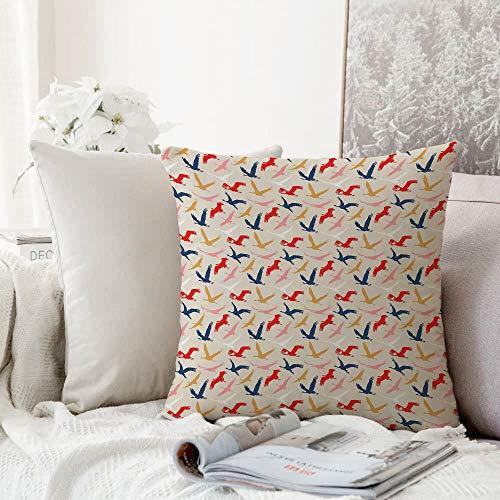 Decoratieve kussensloop kussensloop kussensloop, vogels, migreren Pelikanen Silhouette Dovetail in de hemel hedendaagse stijl natuur concept, Multi kleuren, gooien kussensloop, Home Sofa Slaapkamer Decoratie