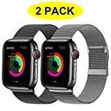 YC YANCH 2 Pack Bands Compatible for Apple Watch 42mm 44mm, Adjustable Stainless Steel Mesh Metal Loop Replacement Band Compatible for iWatch Series 5/4/3/2/1 (42mm 44mm, Black & Space Grey)