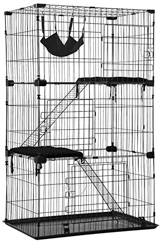 Cat Cage Cat Crate Cat Kennel Cat Playpen with Free Hammock 3 Cat Bed 3 Front Doors 2 Ramp Ladders...