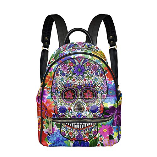 Woisttop Candy Floral Skull Women Backpack Casual Small PU Leather Waterproof Rucksack Fashion Shoulder Bags for Girls Ladies Men