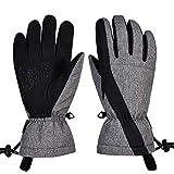 Guantes de esquí, guantes de nieve impermeables a prueba de viento, guantes de pantalla táctil de invierno para hombres y mujeres - gris - Small