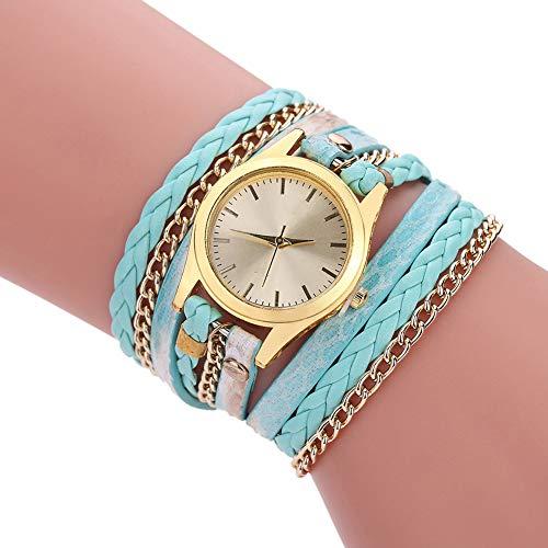 YP Reloj de Cuarzo con Estampado de Serpiente Tejido para Mujer,Las Mujeres de Cuero del Cuarzo Relojes de Pulsera,Reloj de Pulsera de Cuerda para Mujer,Regalo,Sky Blue