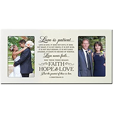 Parent Wedding Gift Picture Frame Bride and Groom, Love is patient, love is Kind, Love never fails 16  L X 8  H holds 2 4x6 photos Exclusively from LifeSong Milestones (Ivory)