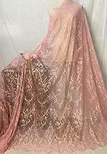 Ivory Lace Fabric Eyelash Chantilly Floral Bridal/Wedding Dress Flower African Lace Table Cloth DIY Crafts Scallop Trim Applique Ribbon Curtains 300cmx150cm ALE02 (Peach Pink)