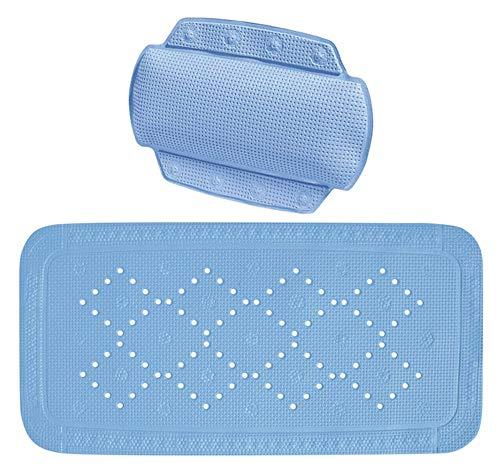 Spirella Set 2-TLG. Wanneneinlage und Nackenpolster, Badewannenmatte, Sicherheitseinlage für die Badewanne Grönland Farbe: Blau 36 x 91cm / 32 x 22cm