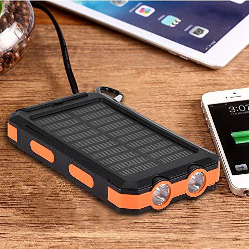 Presente románticoBanco de energía, Boquite Cargador y Seguro Cargador ecológico, Banco de energía Solar, portátil y Seguro para teléfonos móviles(Black+Orange)