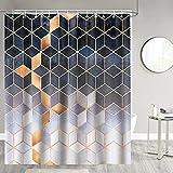 Bonhause Duschvorhang 180 x 180 cm Grau Marmor Geometrische Duschvorhänge Anti-Schimmel Wasserdicht Polyester Stoff Waschbar Bad Vorhang für Badzimmer mit 12 Duschvorhangringen
