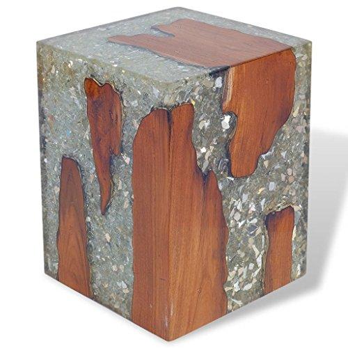 Daonanba Unique Footrest Comfortable Stool Stable Side Table Handmade Furniture Teak Resin 11.8'x11.8'x15.7'