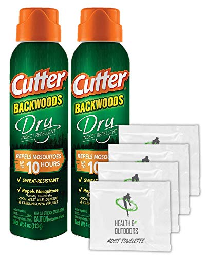 Cutter Backwoods Dry Insect Repellent, Aerosol, 4-Ounce, 2 Pack W/ 4 Bonus Moist Towelettes!
