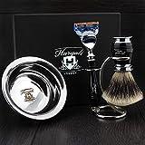 Haryali London Special Selection - Juego de afeitado (4 piezas, maquinilla de afeitar de lujo, brocha de afeitar, soporte doble y bandeja de afeitar)
