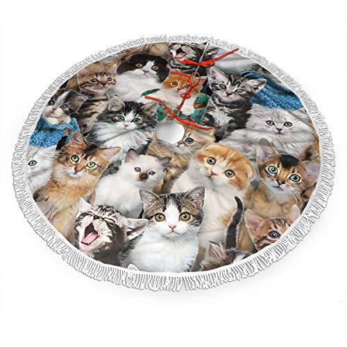 NDZHZEO Cat Breeds Packed Cats Christmas Tree Skirt 48 Inches Xmas Holiday Ornaments for Halloween Farmhouse Rustic Party Luxury Decorations