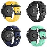 Yayuu Compatible Garmin Fenix 3 Correa Fenix 5X Banda para Reloj Deportivos Suave Silicona Accesorio Correa Pulsera de Repuesto para Garmin Fenix 3/Fenix 5X/Fenix 3 HR (4 Pack-B)