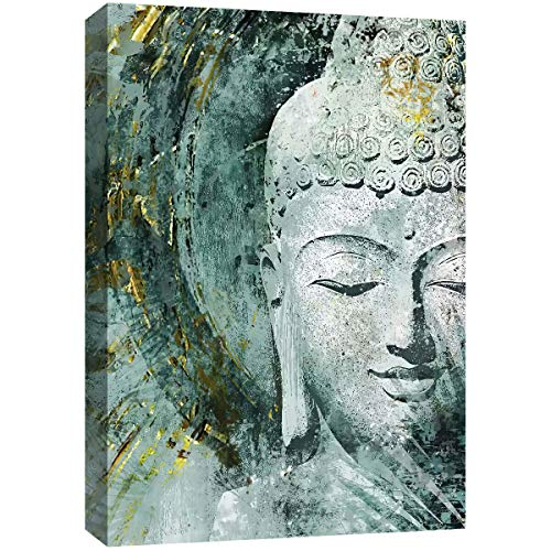 Lz Art Home Decor Buddha Canvas Wall Art-Zen Art Wall Decor Intricate Carving Buddha Paintings on Canvas,Framed for Bedroom Bathroom Living Room Home Office Decor