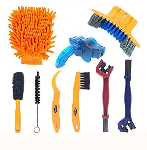 Precision Bicycle Cleaning Brush Tools, Including Bicycle Chain Brushes, Suitable for Mountain, Road, Urban, Hybrid, BMX Bicycles and Folding Bicycles (Nine-Piece Suit)