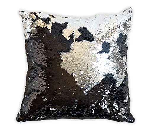 16x16 Mermaid Pillow with Insert Sparkling Black with Flip Sequin Throw Pillow Mermaid Magic Glitter Reversible Color Changing Decorative Pillow Shams Dorm Room Decor for Sofa Comfy