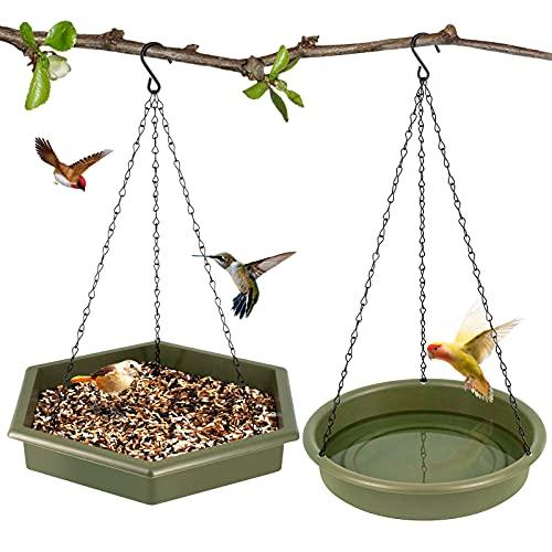 SWSM Vogelfutterstation und Vogeltränke 2 in 1 XL hängende Vogelfutterstation & Vogeltränke für Außen