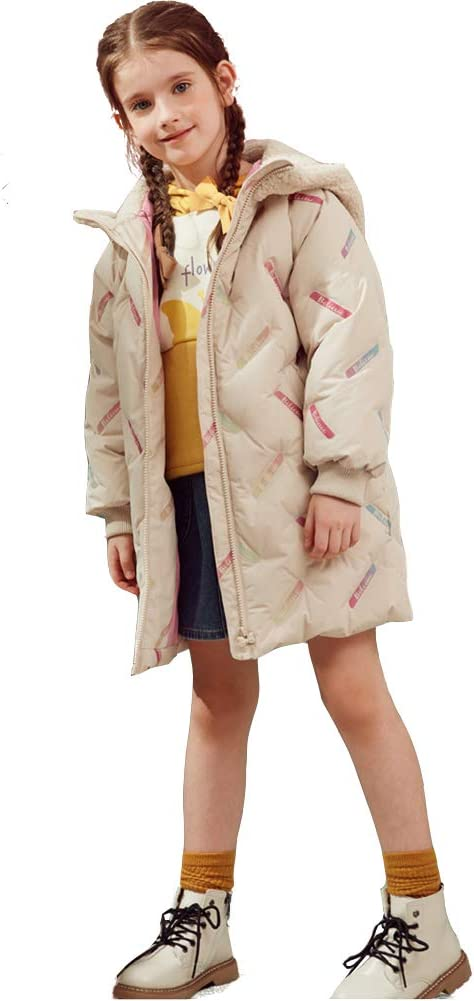 WX-ICZY Hooded Quilted Girls Down Jacket, Coat Thick Coat Hat Girl 3-13 Years Old,140CM