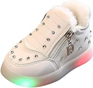 Kids LED Slip on Sneakers Light Up Flashing Sneakers Girls Boys Soft Knit Comfortable Walking Shoes (Toddler/Little Kid)