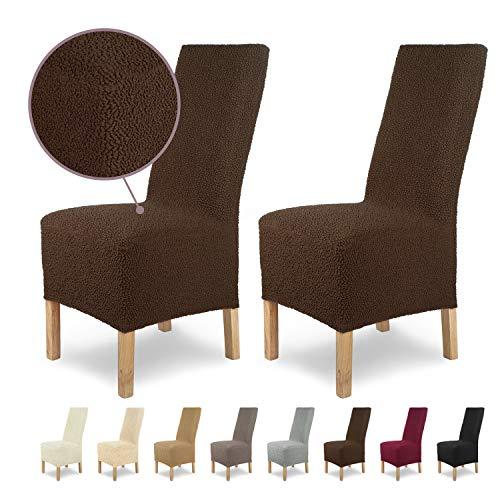Housses de chaises SCHEFFLER-Home Jacquard Lea 2 Set, élastiques Couverture Spandex, Couvre de Chaise, Brun-Marron