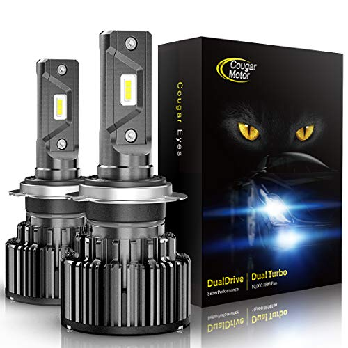 Cougar Motor H7 LED Bulbs, 6K Xenon White All-in-One Conversion Kit - Cool White, Halogen Replacement, Quick Installation Low Fog Light