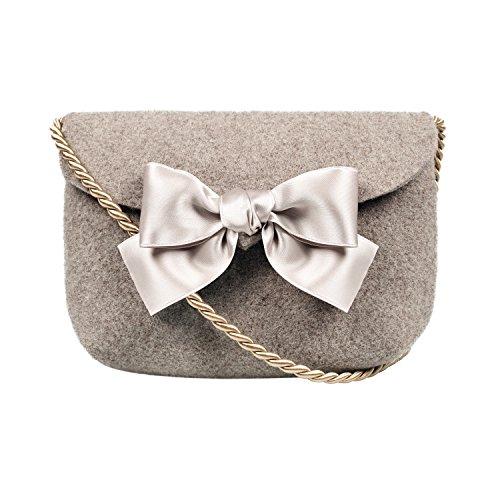Almbock Trachten-Tasche Lilly in taupe - Trachtentasche handmade, handgemacht, aus 100% echtem Wollfilz, Tasche mit Schleife