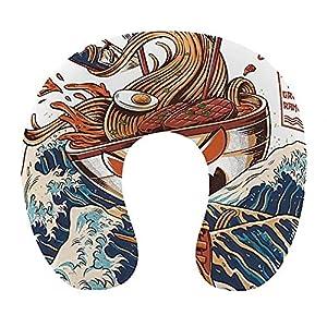 Almohada de viaje de espuma viscoelástica suave, almohada para el cuello en forma de U con funda lavable que soporta el cuello y libera el dolor, divertido y fresco japonés japonés The Great Ramen Off