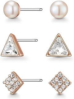 Mestige Women Glass Rose Gold Miya Earring Set with Swarovski Crystals