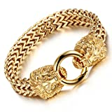 Vintage Mens Stainless Steel Bicycle Chain Large and Heavy Lion Head Biker Bangle Bracelet(Gold)